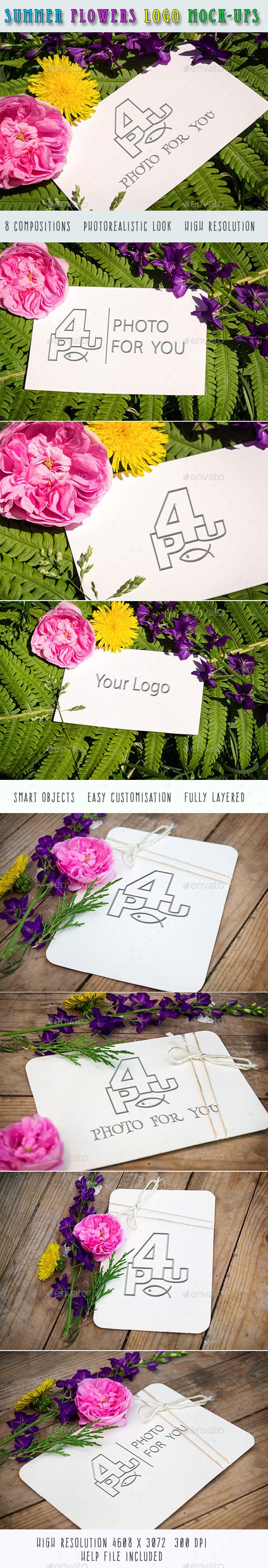 Summer Flowers Logo Mock-Ups - Product Mock-Ups Graphics
