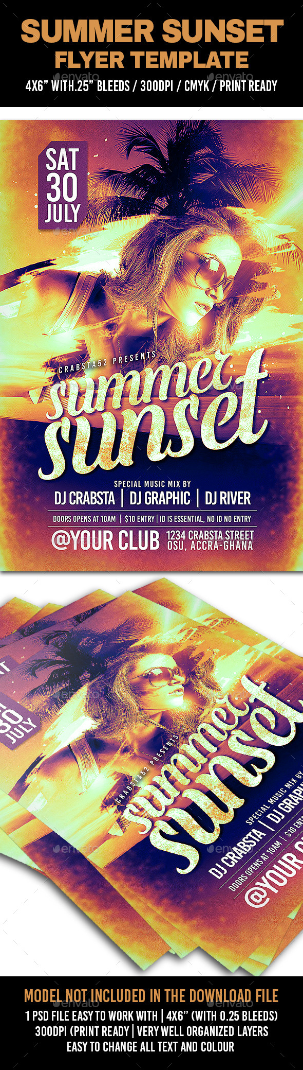 Summer Sunset Flyer Template - Clubs & Parties Events