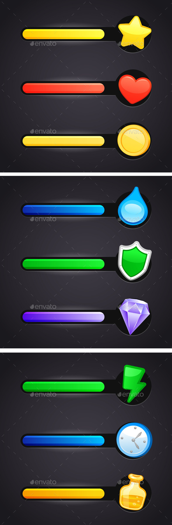 Game Icons And Resource Bar Set - Web Elements Vectors