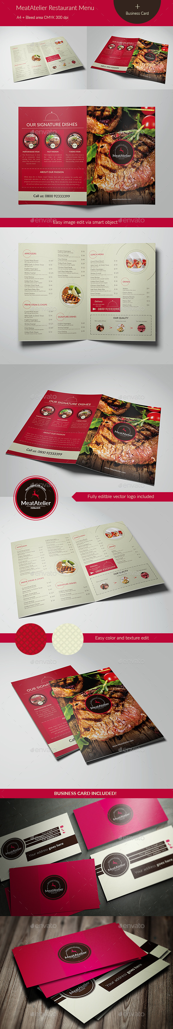 MeatAtelier Menu + Business Card - Food Menus Print Templates