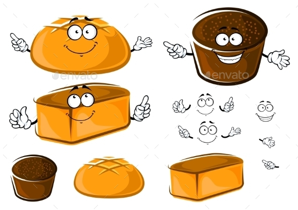 Cartoon Wheat And Rye Brown Breads Characters - Food Objects