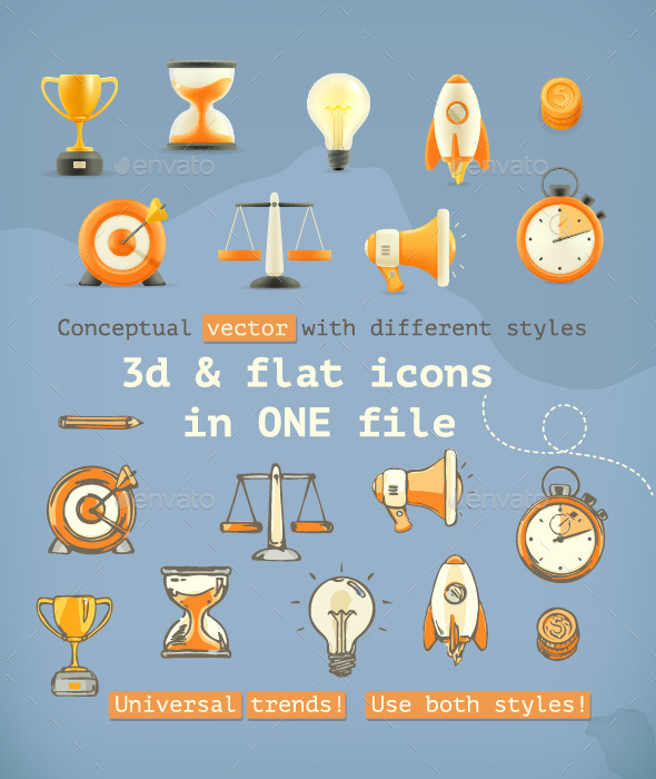 3D and Flat Icons  - Miscellaneous Vectors