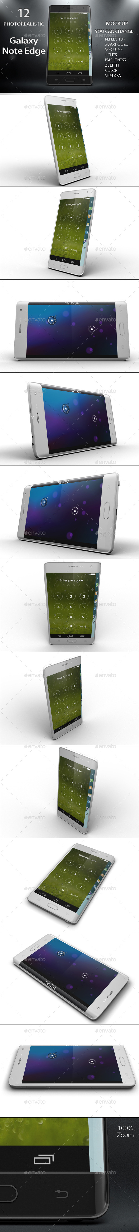 Galaxy Note Edge Smartphone Mock Up Vol.2 - Mobile Displays