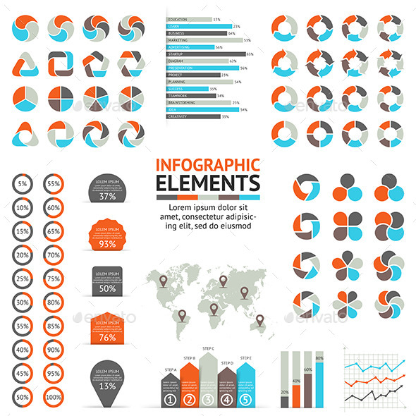 Infographic, Diagram and Graph Elements Set - Infographics