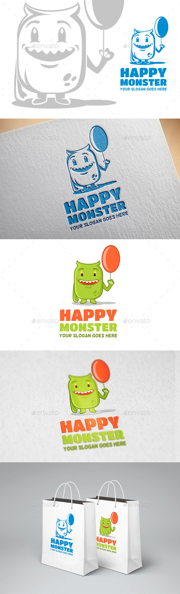 Happy Monster Logo - Animals Logo Templates