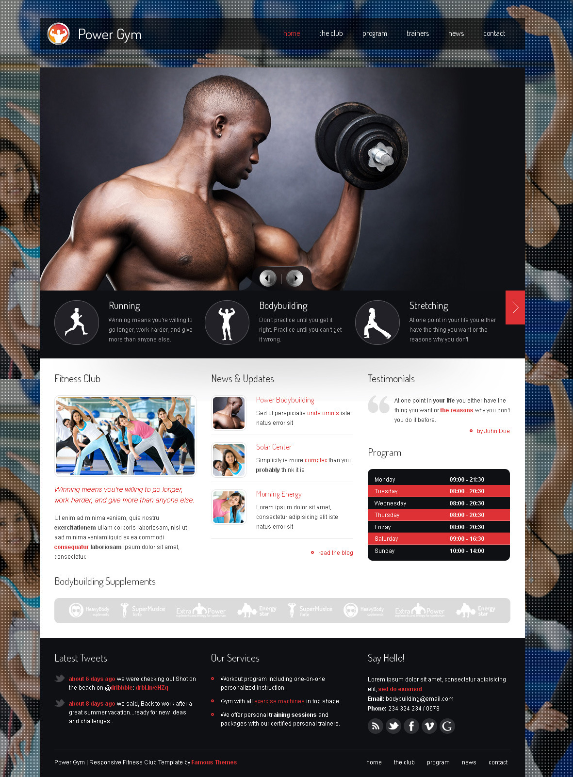 Power Gym - Responsive Fitness Club Template by SindevoThemes ...