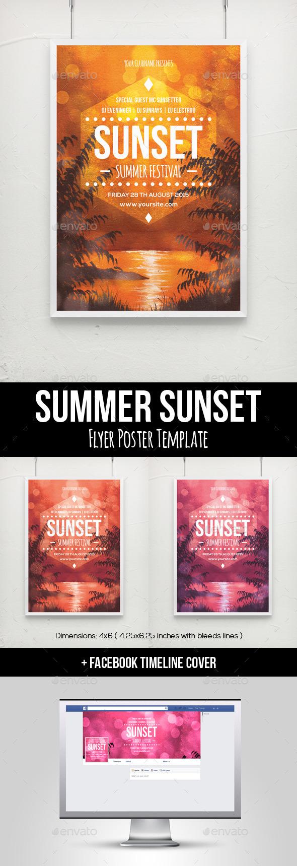 Summer Sunset Flyer Poster Template