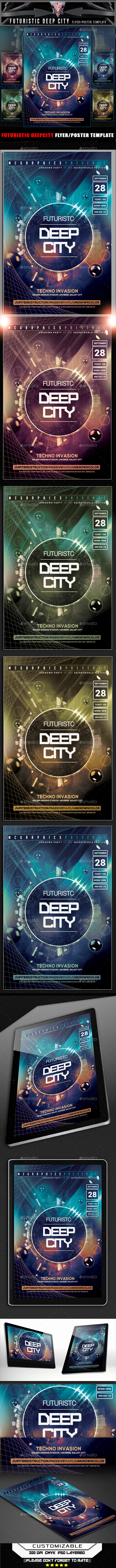 Futuristic Deep City Flyer Template - Clubs & Parties Events