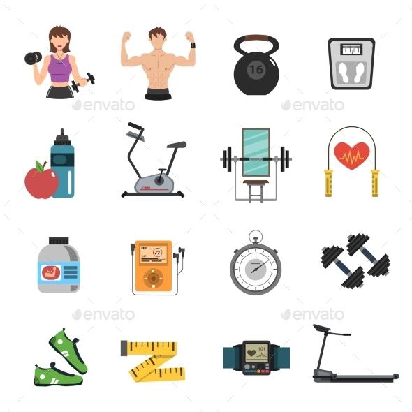 Gym Icon Flat Set - Sports/Activity Conceptual
