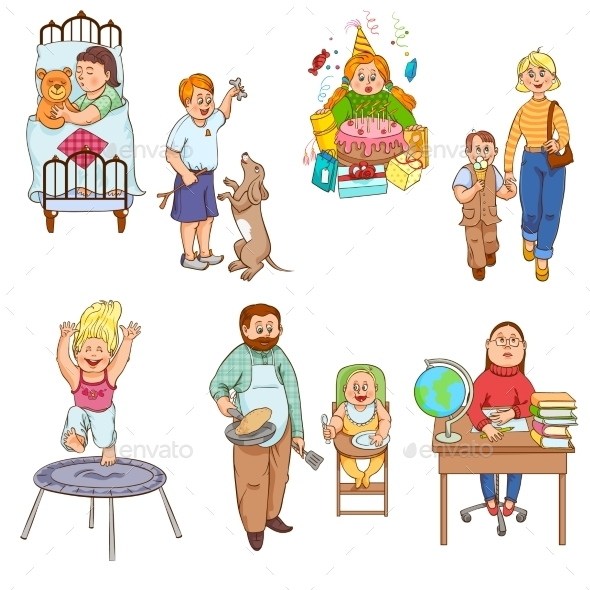 Parents with Children Cartoon Icons Collection - People Characters