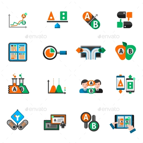A-b Testing Icons Set - Miscellaneous Icons