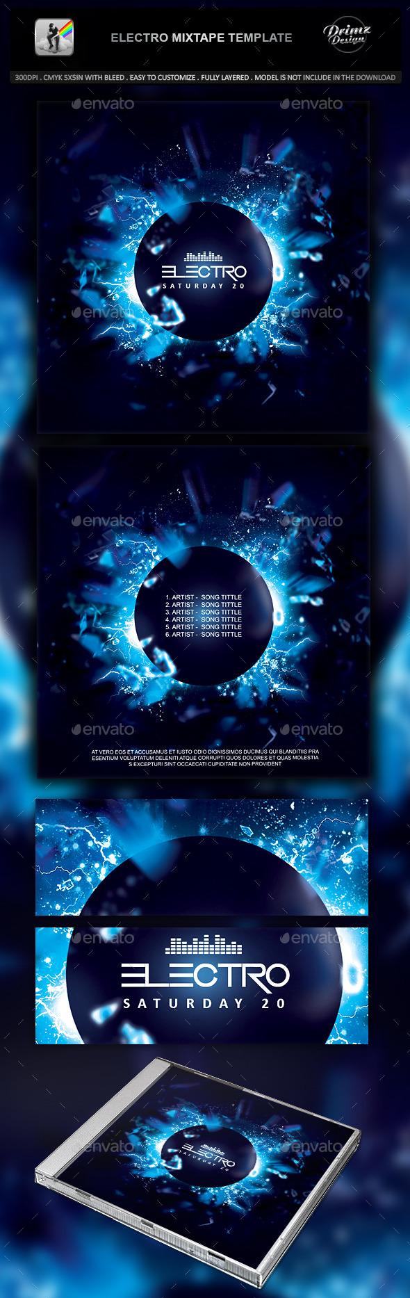 Electro Mixtape Template - CD & DVD Artwork Print Templates