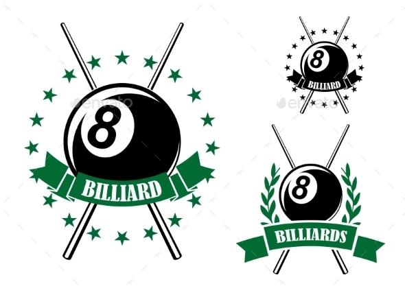 Billiards Or Pool Sporting Emblem - Sports/Activity Conceptual