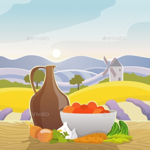 Rural Landscape With Still Life - Food Objects