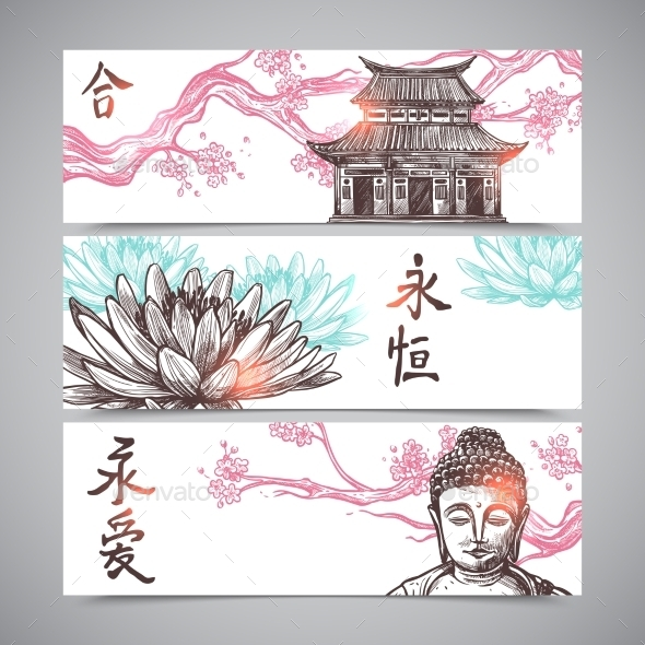 Asian Banners Set - Travel Conceptual
