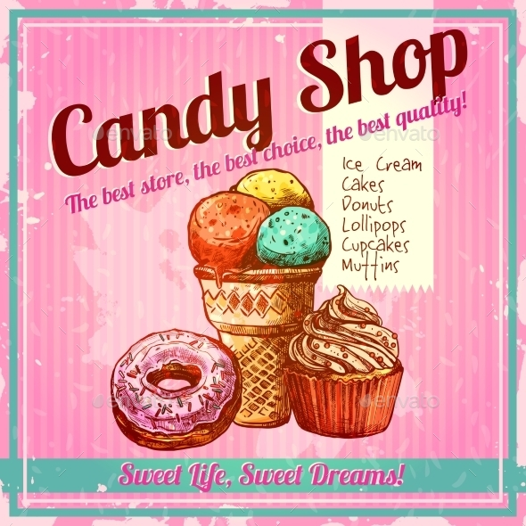 Vintage Candy Shop Poster - Food Objects