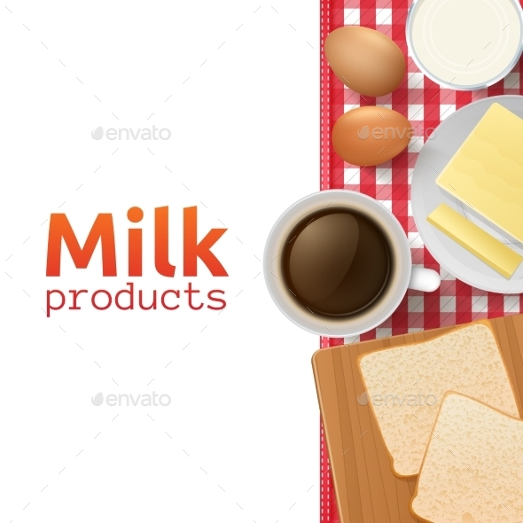 Milk and Dairy Products Concept - Food Objects