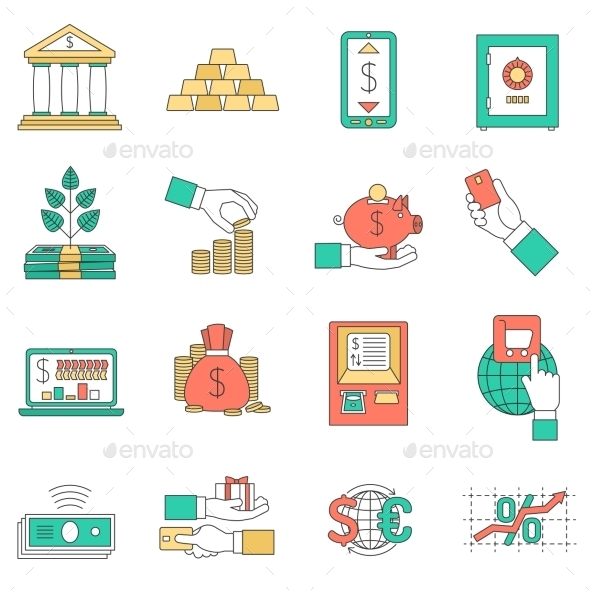 Banking Business Icons Set - Business Icons