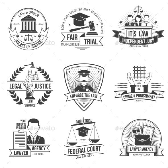 Justice Label Set - Miscellaneous Vectors
