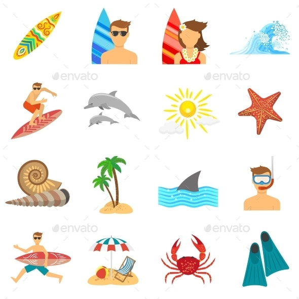 Surfing Icons Flat Set - Miscellaneous Icons