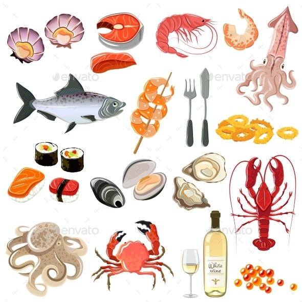 Seafood Icons Set - Food Objects