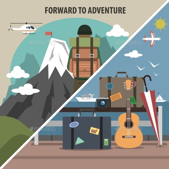 Travel Hiking Diagonal Banner - Travel Conceptual