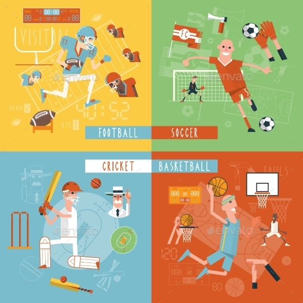 Team Sport Flat Icons Square Banner - Sports/Activity Conceptual