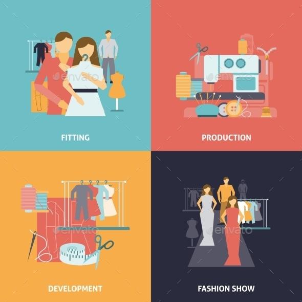 Clothes Design Icons Set - Industries Business