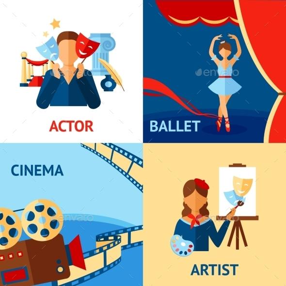 Art and Culture Design Concept Set - Miscellaneous Vectors