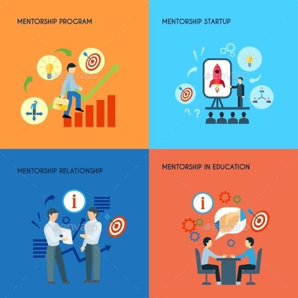 Mentorship 4 Flat Icons Square Composition  - Concepts Business