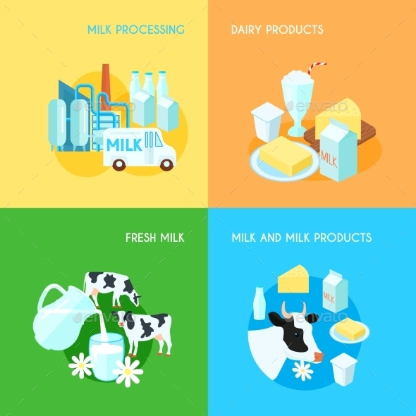 Milk 4 Flat Square Icons Composition - Food Objects