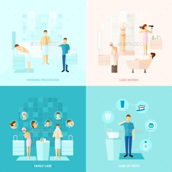 Personal And Family Care Icons Set - Health/Medicine Conceptual
