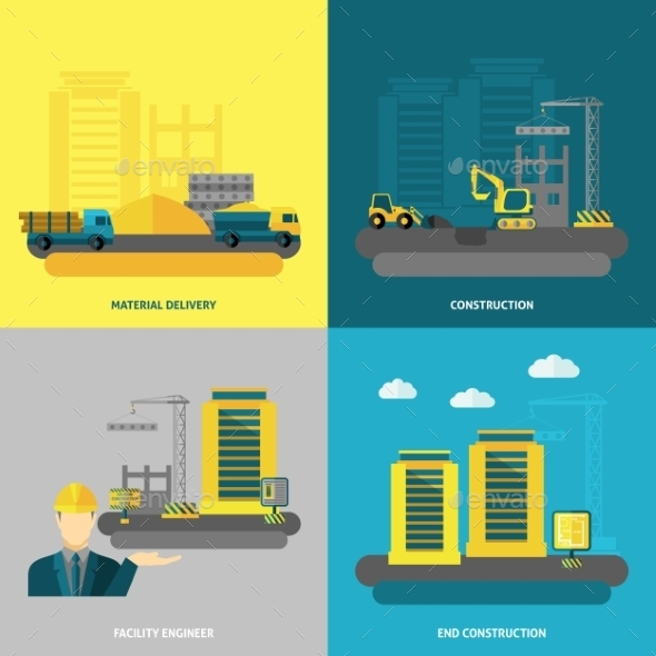 Construction Icons Flat - Buildings Objects