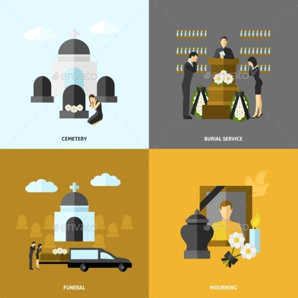 Funeral Flat Set - Miscellaneous Vectors