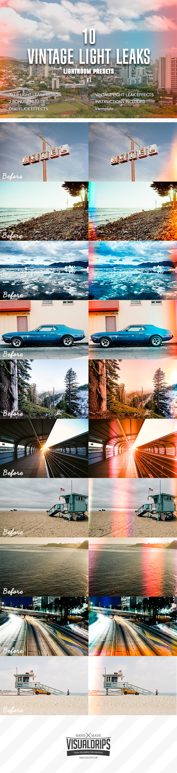 10 Vintage Light Leaks vol.1 - Lightroom Presets - Film Lightroom Presets