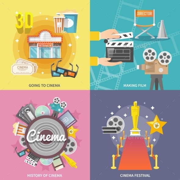 Cinema 4 Flat Icons Square Composition - Miscellaneous Conceptual