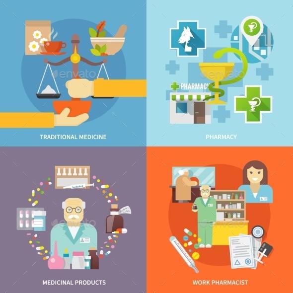 Pharmacist Icons Set - Health/Medicine Conceptual