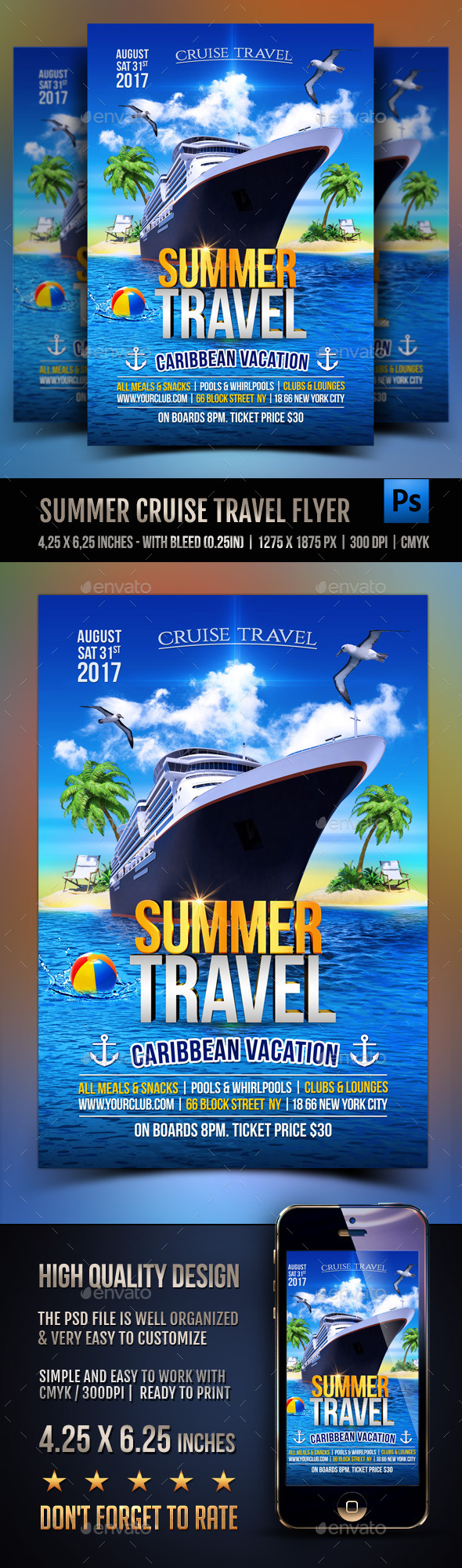 Summer Cruise Travel Flyer - Events Flyers