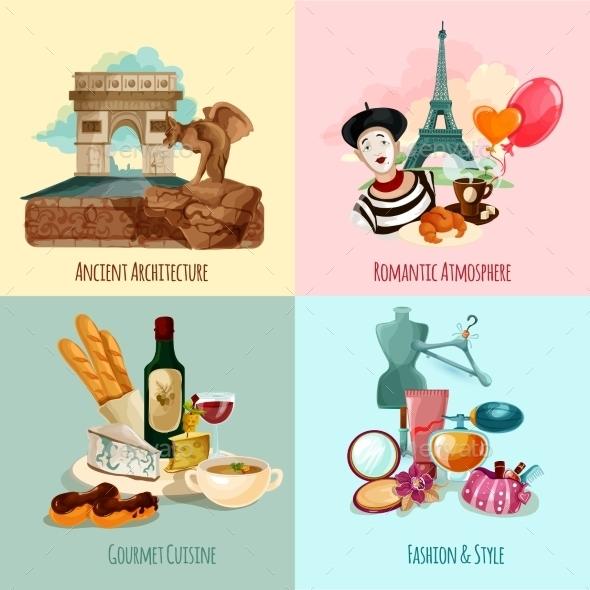 Paris Touristic Set - Travel Conceptual