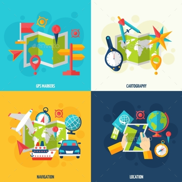 Navigation And Location Flat Icon Set - Travel Conceptual