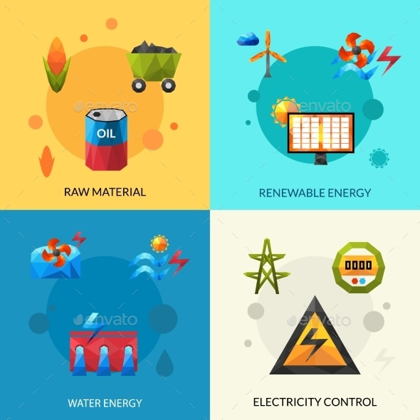 Energy Resources Icons Set - Industries Business