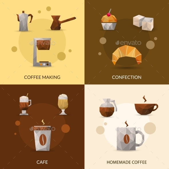 Coffee and Confectionery Icon Set - Food Objects