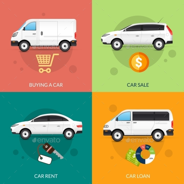 Car For Rent And Sale - Miscellaneous Vectors