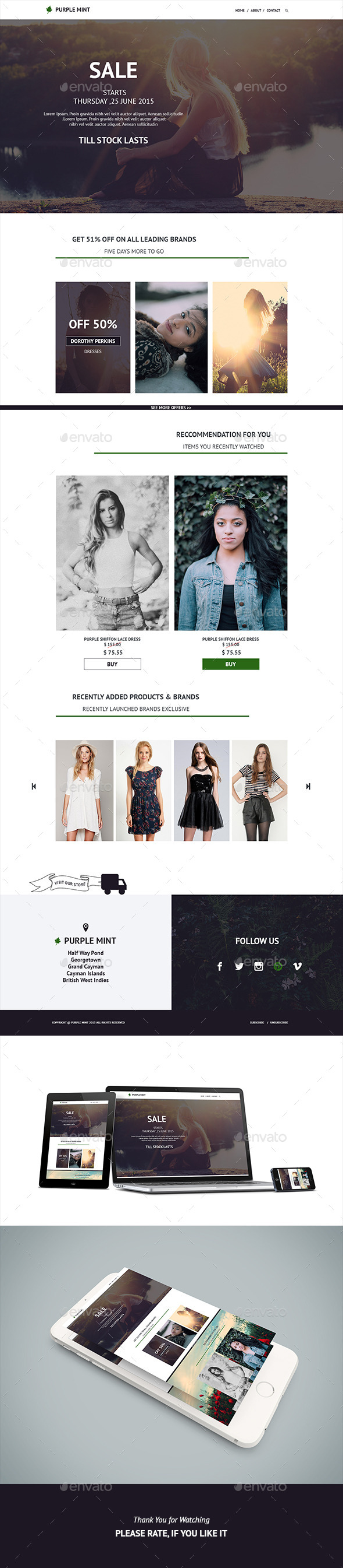 Purple Mint Fashion E-Newsletter  - E-newsletters Web Elements