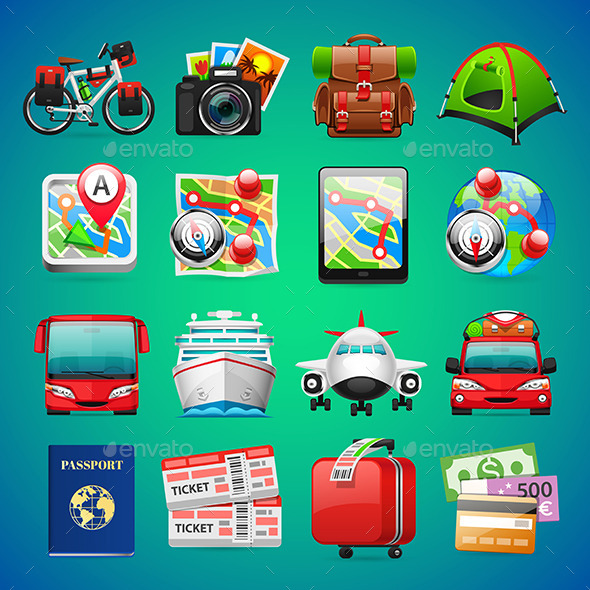 Colorful Travel Icons - Man-made objects Objects