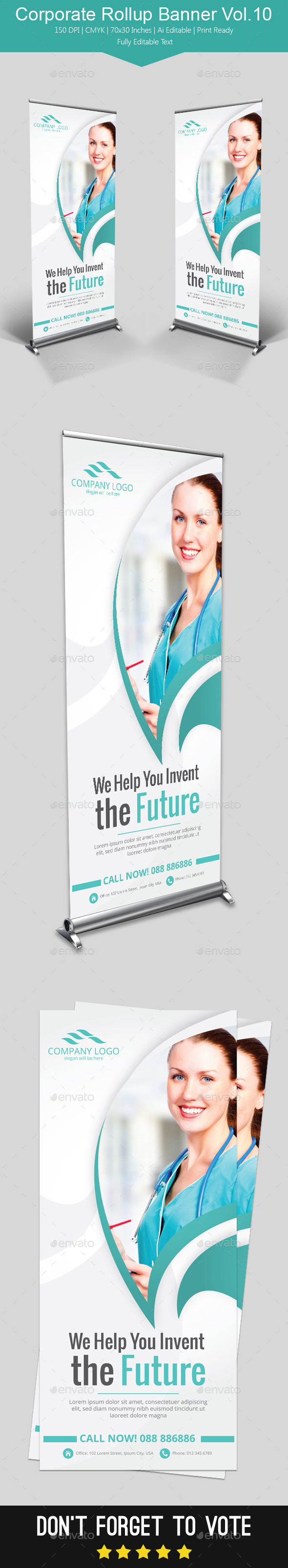 Corporate Rollup Banner Vol.10 - Signage Print Templates