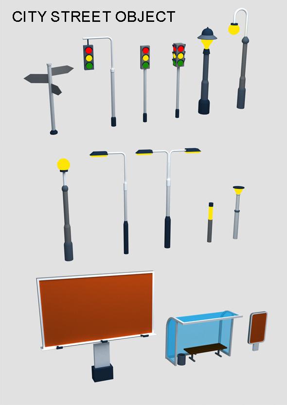14 Street Objects - 3DOcean Item for Sale