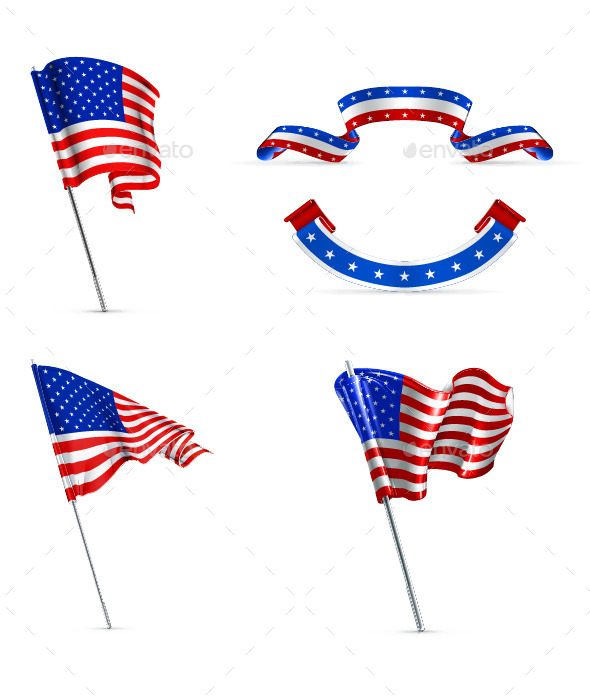 United States Wavy Flags - Man-made Objects Objects