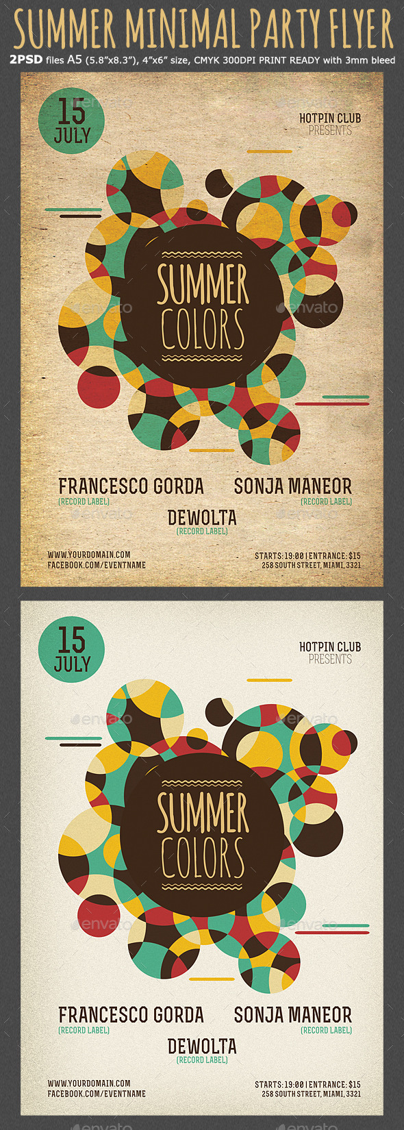 Summer Colors Minimal Party Flyer Template - Clubs & Parties Events