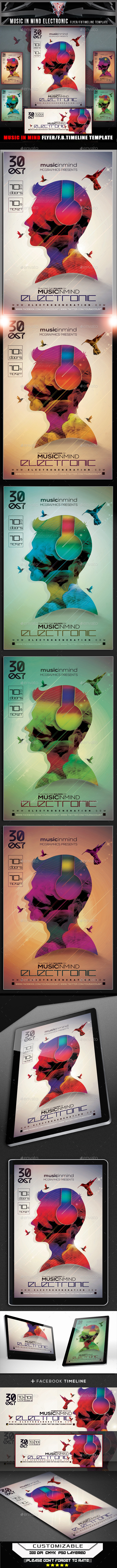 Music In Mind Electronic Flyer Template - Events Flyers